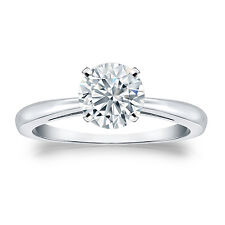 Certified 14k White Gold 4-Prong Round Diamond Solitaire Ring 1.00ct G-H, I2-I3