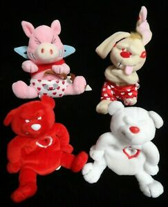 VALENTINE Meanies 1999 Set Of 4 LIMITED EDITION OF 7500 Red Heartless Bear