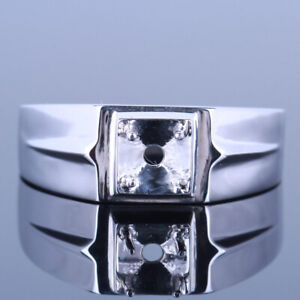 4.5-5.25mm Round Party Jewelry Man Band Wedding Semi Mount Ring 10K White Gold