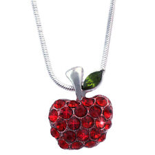 Small Red Apple Pendant Necklace Jewelry Gift for Teacher Girl Woman Friend n51r