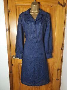 Vintage Size 12 Navy Blue Polka Dot Spotty Smart Casual Occasion Dress