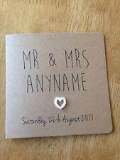 Handmade Personalised Wedding Day card (pearl heart)