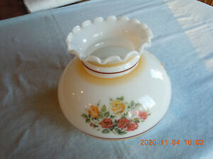 Vintage Milk Glass Lamp Shade with Floral Design-Fluted Top-Unused