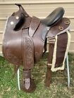 """17"""" brown tooled leather Australian saddle w/covered trail stirrups"""