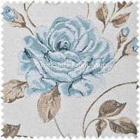 White Blue Floral Flowers Design Pattern Soft Woven Chenille Upholstery Fabric
