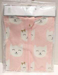 NWT Carter's Little Baby Basics Little Sleep Bag Pink Cat - Small