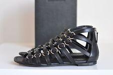 NIB Auth YSL Saint Laurent Nina Gladiator Leather Flat Sandals Shoe sz 6 / 36