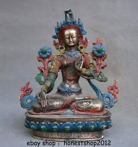"""8,8 """"Tibet Buddhismus Tempel Silbergemälde 7 Augen Weiße Tara Göttin Statue"""