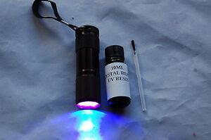 10ML CRYSTAL REPAIR UV RESIN, GLUE FOR GLASS, METAL, FURNITURE + 9 LED UV TORCH