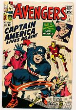 AVENGERS NO. 4  1st SILVER AGE CAPTAIN AMERICA  ONE OWNER MARVEL 1964 BEAUTIFUL!