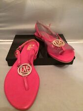 Beautiful! Love Moschino Pink Flat Open Toe Thong Straps Leather Sandals Size7US