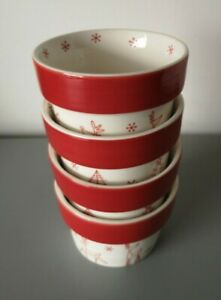 M&S Hand Painted  Red/White Christmas Stoneware Ramekins Dishes x 4