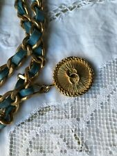 VINTAGE AUTHENTIC CHANEL CC SHAMROCK CLOVER CHAIN TURQUOISE LEATHER BELT