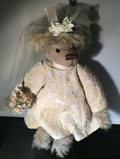 Teddy Bear Connie Stark limited edition hand made Wedding Bride Vintage fabric