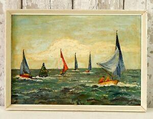 Vintage Oil Painting on Board Sail Boat Sailing Ocean Sea Coast Seaside #B