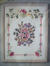 Designer Peony Bouquet cross stitch kit unopen includes mat and frame