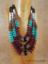 Cowgirl Necklace Set - Chunky Resin, Turquoise Howlite, Agate- Western Statement