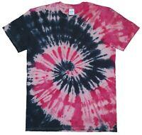 Red & Black Spiral TIE DYE T SHIRT Tye Die Tshirt Festival Top Tee Unisex Kids