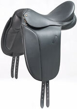 New Beautiful black Dressage leather Saddle SIZE 17.5""