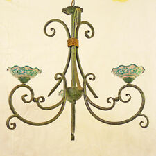 LAMPADARIO RUSTICO CERAMICA DECORATA FERRO BATTUTO FORGIATO ART.128 MADE ITALY