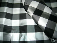 BLACK WHITE GINGHAM CHECK 100% SILK FABRIC for BLOUSE DRESS SHIRT TABLECLOTH
