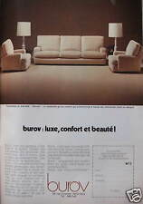 PUBLICITÉ 1975 CANAPÉ FAUTEUIL BUROV LUXE CONFORT ET BEAUTÉ