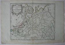Europäisches Russland Nördlicher Teil kolor Orig Kupferstich Vaugondy 1784