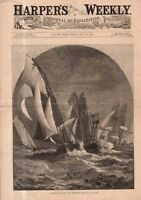 1881 Harpers Weekly - July 30 Cover only - Sailing Regatta rounds the light-ship