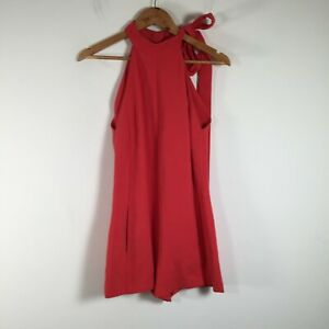 Witchery womens playsuit romper size 8 red sleeveless high neck viscose blend