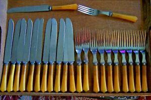 23 BAKELITE HANDLE KNIVES/FORKS FLATWARE-SAME PATTERN--BUTTERSCOTCH