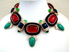 Massive Black Enamel Red Green Blue Lucite Rhinestone Necklace Unsigned Designer