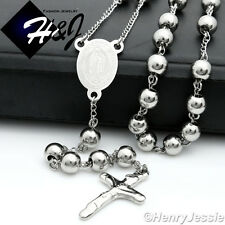 """29+5""""MEN Stainless Steel HEAVY 8mm Silver Beads Virgin Mary Rosary Necklace*RN10"""
