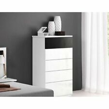 Cómoda Chifonier Dormitorio 5 Cajones,Mueble Habitación Matrimonial Negro-Blanco