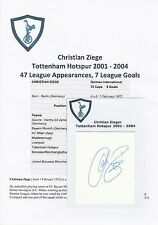 CHRISTIAN ZIEGE TOTTENHAM HOTSPUR 2001-2004 ORIGINAL HAND SIGNED CUTTING/CARD