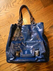 Blue Coach Patent Leather Shoulder Tote Handbag Purse  Larger Bag
