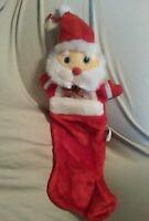 """Vintage Christmas Stocking Santa Claus Hat Ribbon 23"""" Holiday"""