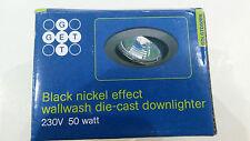 6 X GET black nickel effect wall wash GU10 mains 240v with 50w Halogen Bulb