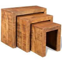 Rustic 3-Piece Nesting Table Side Table Solid Mango Wood Living Room Furniture