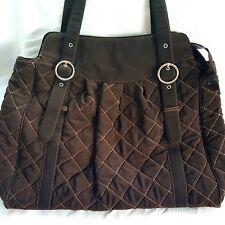 Vera Bradley Espresso Brown Microfiber Quilted Shoulder Bag Purse Tote Overnight