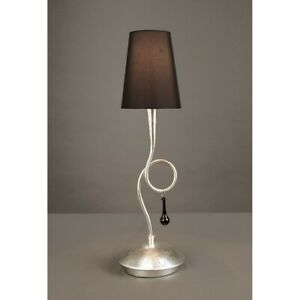 Bedside Lamp Lumetto Classic Silver With Lampshade Black Man paola-3535
