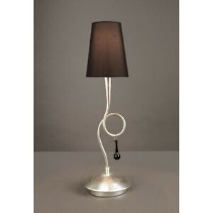 Bedside Lamp Lumetto Classic Silver With Lampshade Black