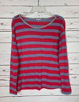 Splendid Women's Sz XS Extra Small Gray Red Striped Long Sleeve Spring Top Shirt