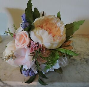 Wedding Bouquet1-Silk Flowers/Lenox Vase or Holder, Handmade, Customizable NICE!