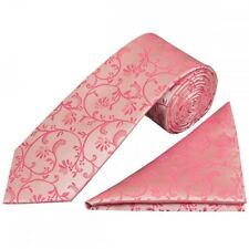 Light Coral Pink Floral Classic Men's Tie and Pocket Square Set Normal Tie