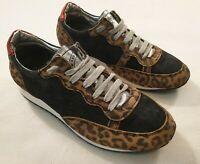 P448 Leopard Print Trainers Casual Shoes Made in Italy UK Size 4 EUR 37 €200+