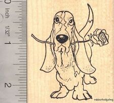 Basset Hound Dog with Rose, Valentine's Day Rubber Stamp H15710 WM  Love, Heart