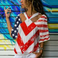 Womens Short Sleeve Vest Patriotic Stripes Star American Flag Print Tank Top