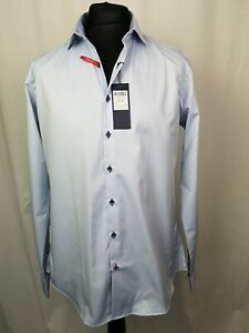 "Luc Brevet Men's Formal Shirt Blue Slim Fit Chest 46"" Large Neck 16 1/2 -L367"