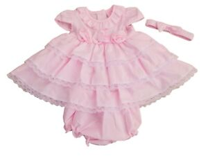 BNWT Baby Girls spanish Romany summer pink roses frilly dress outfit clothes