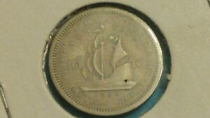 ⭐1955 BRITISH CARIBBEAN TERRITORIES 10 CENT COIN SHIPS FREE 😃
